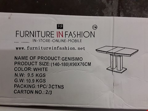 Lot 77 BOXED GENISIMO WHITE DINING TABLE (COMPLETE SET, 3/3)