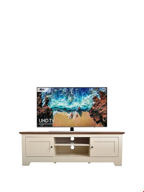 Lot 7036 BOXED GRADE 1 DEVON TV UNIT IVORY/WALNUT (1BOX)