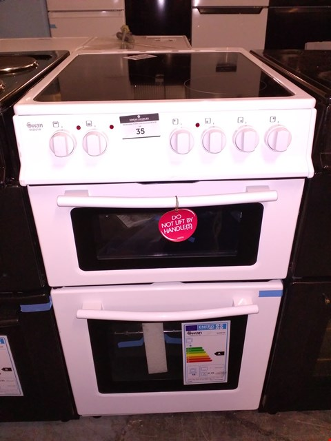 Lot 35 SWAN SX2021W WHITE 50CM TWIN CAVITY ELECTRIC OVEN COOKER HIGH CERAMIC HOB RRP £369.99