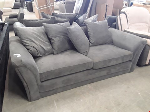 Lot 347 DESIGNER GREY FABRIC 3 SEATER SOFA WITH SCATTER BACK CUSHIONS