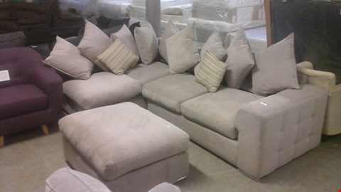 Lot 1235 DESIGNER GREY FABRIC CORNER SOFA AND FOOTSTOOL WITH STYLISH CHROME FEET