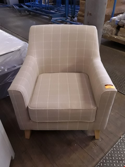 Lot 111 DESIGNER BEIGE CHECKED FABRIC ARMCHAIR