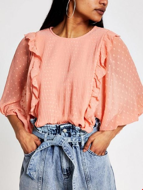 Lot 3649 BRAND NEW RIVER ISLAND PETITE PLEATED FRILL DETAIL BLOUSE - RUST SIZE 8