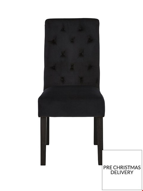 Lot 19 BOXED PAIR OF VELVET BLACK SCROLL BACK DINING CHAIRS