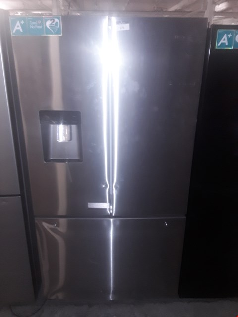 Lot 51 HISENSE SILVER AMERICAN STYLE FRENCH DOOR FRIDGE FREEZER WITH WATER DISPENSER RRP £799