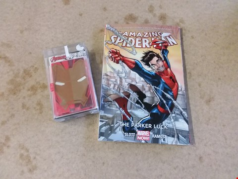 Lot 280 THE AMAZING SPIDER-MAN THE PARKER LUCK SLOTT RAMOS AND AVENGERS IRON MAN 4000MAH POWER BANK