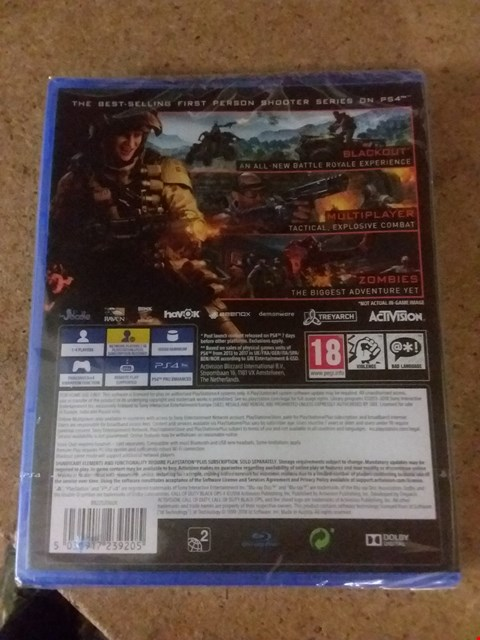 Lot 2565 CALL OF DUTY BLACK OPS FOR PS4