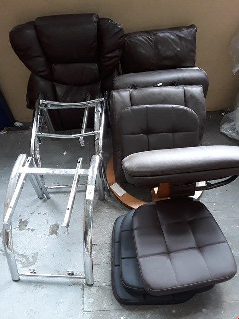 Lot 78 LOT OF ASSORTED BROWN FAUX LEATHER CHAIR PARTS