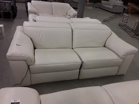 Lot 45 DESIGNER SENSOR QUALITY GRADED WHITE ITALIAN LEATHER RECLINING 3 SEATER SOFA WITH ADJUSTABLE HEADRESTS AND CONTRAST DETAIL STITCHING