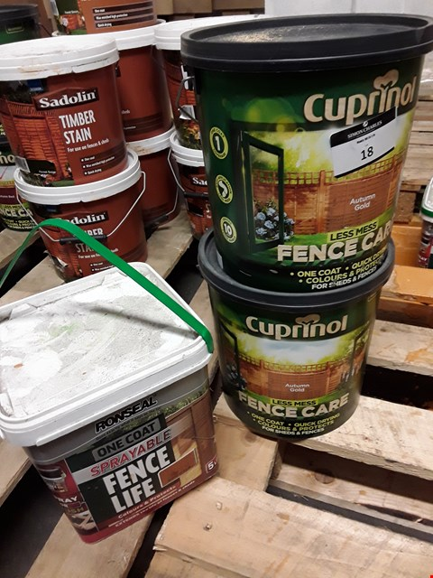 Lot 18 TWO TUBS OF CUPRINOL AUTUMN GOLD FENCECARE 6 LITRE & TUB RONSEAL SPRAYABLE FENCELIFE 5 LITRE RRP £34