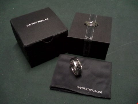 Lot 1546 BOXED EMPORIO ARMANI STAINLESS STEEL MENS RING RRP £119
