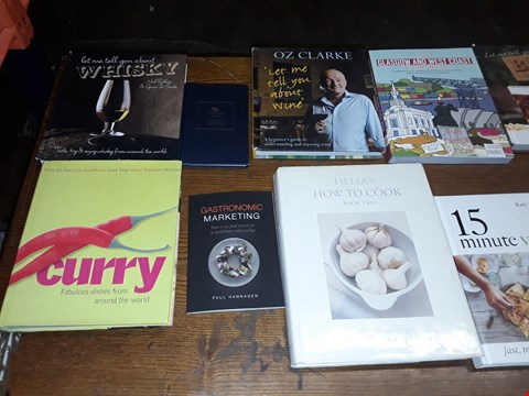 Lot 160 LOT OF APPROXIMATELY 12 ASSORTED BOOKS TO INCLUDE LET ME TELL YOU ABOUT BEER, 15 MINUTE VEGAN, CURRY AND LET ME TELL YOU ABOUT WHISKEY ECT