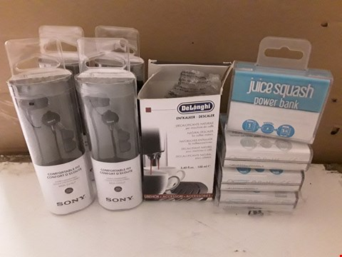 Lot 1639 BOX OF 9 ASSORTED ITEMS TO INCLUDE SONY STEREO HEADPHONES, DELONGHI DESCALER FOR COFFEE MAKERS, JUICE SQUASH POWER BANK