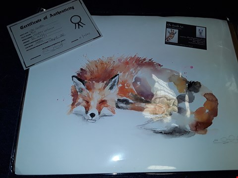 Lot 9 ELLE SMITH 'FOX' WATERCOLOUR NUMBERED 1/1