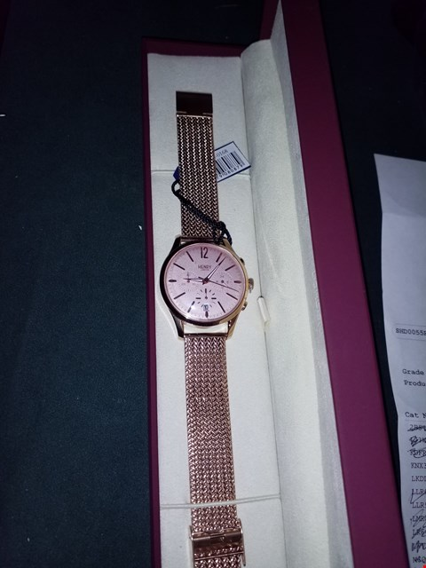 Lot 1426 BRAND NEW HENRY LONDON ROSE GOLD DIAL ROSE GOLD MESH STAINLESS STEEL STRAP LADIES WATCH RRP £199