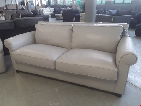 Lot 39 QUALITY ITALIAN MEDIUM GREY LEATHER UPHOLSTERED THREE SEATER SOFABED