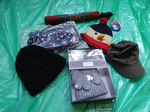 Lot 6102 APPROXIMATELY 12 ASSORTED CLOTHING ACCESSORIES TO INCLUDE; HATS, UMBRELLAS AND BAGS
