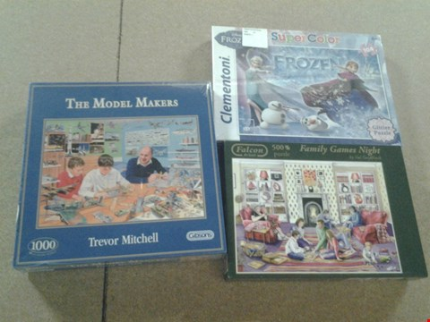 Lot 372 3 ASSORTED JIGSAW PUZZLES TO INCLUDE; FAMILY GANES NIGHT, THE MODEL MAKERS AND DISNEYS FROZEN