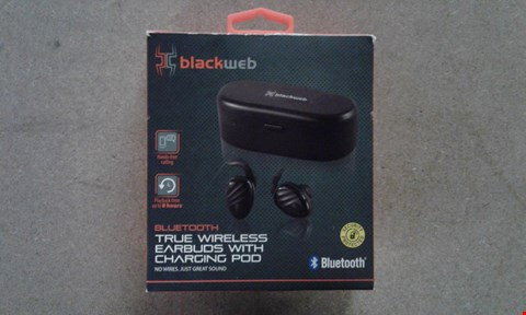 Lot 734 BOXED BLACK WEB BLUETOOTH TRUE WIRELESS EARBUDS ITH CHARGING POD
