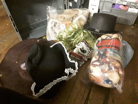 Lot 6079 TRAY OF APPROXIMATELY 7 FANCY DRESS ITEMS, I CLUDING CAPTAIN AMERICA MASK, HORROR MASK, WELSH FOLK HAT,SMALL TOP HAT ( TRAY NOT INCLUDED )