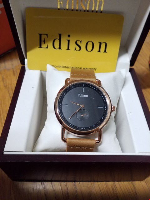 Lot 98 EDISON WRIST WATCH WITH ROSE GOLD CASING, BLACK DIAL & TAN LEATHER STRAP