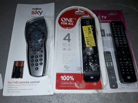 Lot 1489 BOX OF APPROXIMATELY 17 TV REMOTES TO INCLUDE SKY REMOTE, ALL FOR ONE TV REMOTE AND LG REPLACEMENT TV REMOTE (BOX  NOT INCLUDED)