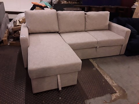 Lot 94 DESIGNER NATURAL FABRIC CHAISE SOFA WITH STORAGE
