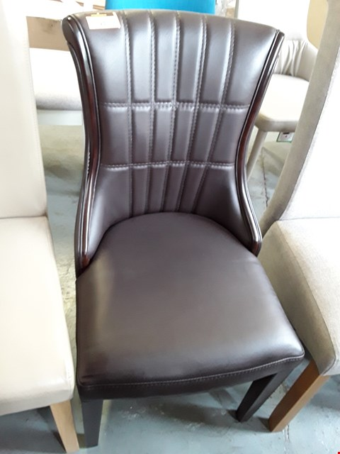 Lot 93 DESIGNER BROWN LEATHER DINING CHAIR