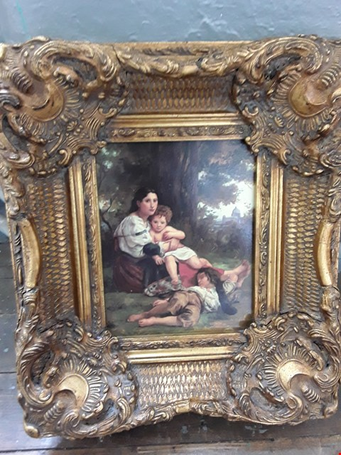 Lot 11014 VICTORIAN MOTHER & CHILDREN IN THE GARDEN - PAINTING IN A DEOCRATIVE GOLD PAINTED  FRAME (APPROX 40 X46CM)