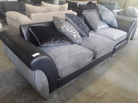 Lot 37 TWO DESIGNER BLACK FAUX LEATHER AND GREY FABRIC SOFA SECTIONS WITH SCATTER BACK CUSHIONS