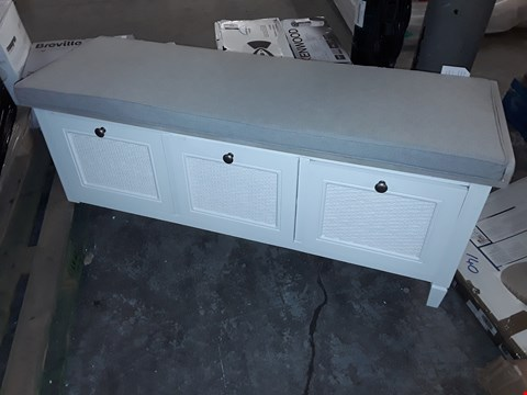 Lot 243 DESIGNER GREY PAINTED HALL SEAT WITH 3 DRAWERS & GREY CUSHION