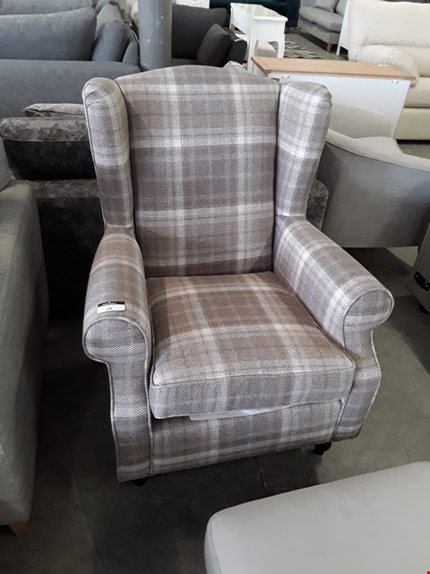 Lot 59 QUALITY BRITISH DESIGNER BROWN TARTAN WINGBACK ARMCHAIR