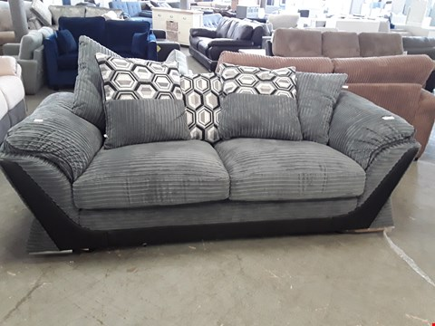 Lot 359 DESIGNER BLACK FAUX LEATHER AND GREY JUMBO CORD 3 SEATER SOFA WITH SCATTER BACK CUSHIONS