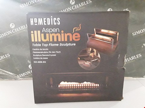 Lot 17125 BOXED HOMEDICS ASPEN ILLUMINE TABLE TOP FLAME SCULPTURE