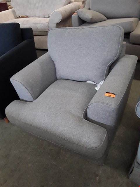 Lot 134 QUALITY BRITISH DESIGNER GREY FABRIC ARMCHAIR