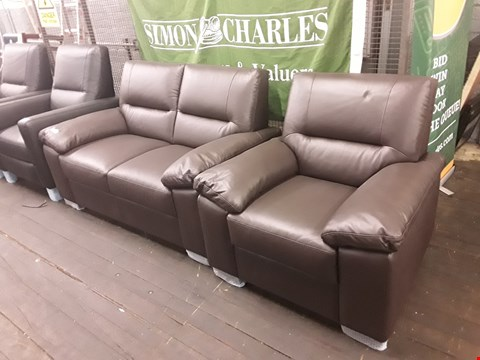 Lot 156 BRAND NEW QUALITY DESIGNER ITALIAN BROWN LEATHER TWO-SEATER SOFA AND ARMCHAIR