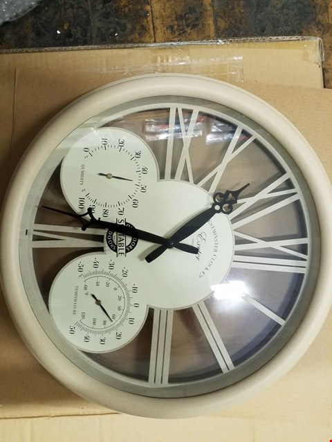 Lot 3161 BOXED BRAND NEW EXETER WALL CLOCK & THERMOMETER  RRP £40.00