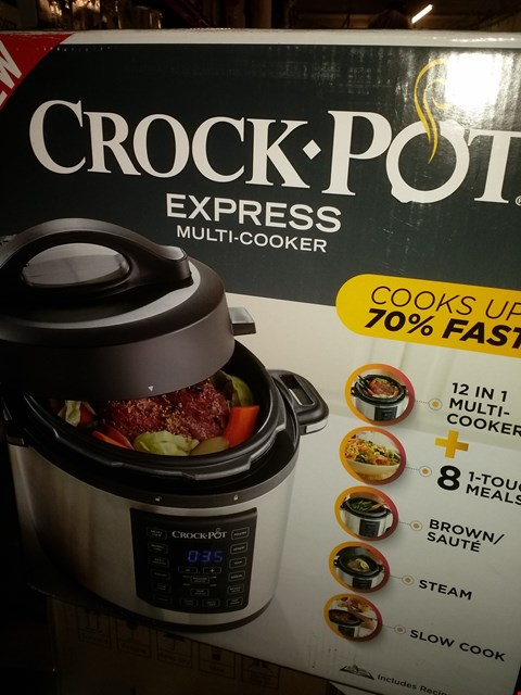 Lot 2041 CROCK-POT EXPRESS PRESSURE COOKER CSC051, 12-IN-1 PROGRAMMABLE MULTI-COOKER, SLOW COOKER, STEAMER AND SAUTE, 5.6 LITRE, STAINLESS STEEL