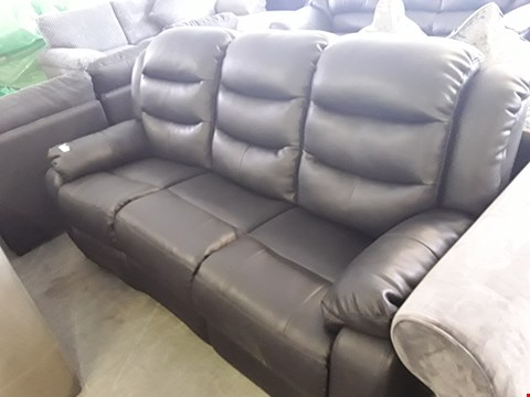 Lot 61 DESIGNER BLACK FAUX LEATHER MANUAL RECLINING 3 SEATER SOFA