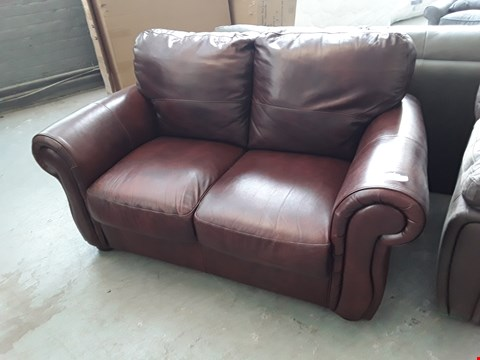 Lot 137 DESIGNER BROWN LEATHER 2 SEATER SOFA