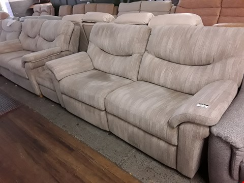 Lot 2060 QUALITY BRITISH MANUFACTURE HARDWOOD FRAMED DESIGNER BEIGE FABRIC POWER RECLINING SUITE, COMPRISING, TWO THREE SEATER SOFAS & FOOTSTOOL