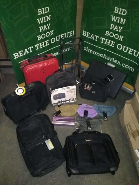 Lot 9136 BOX OF APPROXIMATELY 50 BAGS TO INCLUDE AZURE ICE 34L RED SUITCASE, BORDERLINE WAIST BAG VARIOUS COLOURS, FLYGEAR BACK BREIFCASE, METALLIC PURPLE CLUTCH BAG, CITIES BLACK WHEELED CARRY ON BAG, ETC