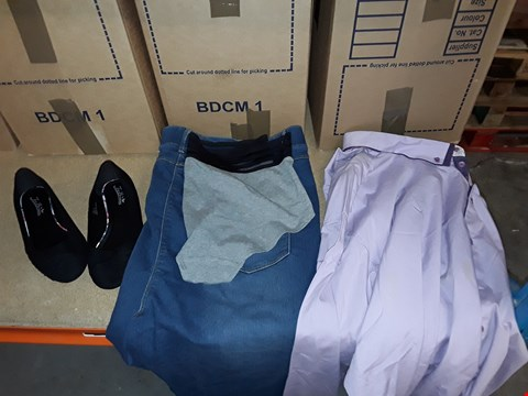 Lot 9380 4 BOXES OF APPROXIMATELY 233 ASSORTED CLOTHING AND FOOTWEAR ITEMS INCLUDING BLACK/GREY SPORTS LUXE SHORTS, LILAC COLLAR SHIRT, BLACK BALLERINA SHOE AND DENIM JEANS