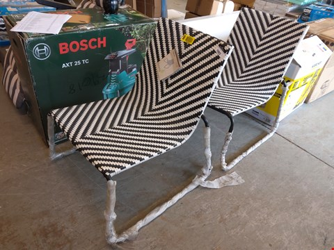 Lot 1003 DESIGNER PAIR OF BLACK AND WHITE MORILLO GARDEN CHAIRS  RRP £122.00