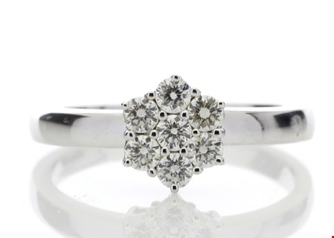 Lot 4 9ct WHITE GOLD DIAMOND CLUSTER RING 0.45ct RRP £4169