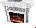 Lot 1043 BRAND NEW WHITE MIRROR CRUSH FIREPLACE RRP £899.99