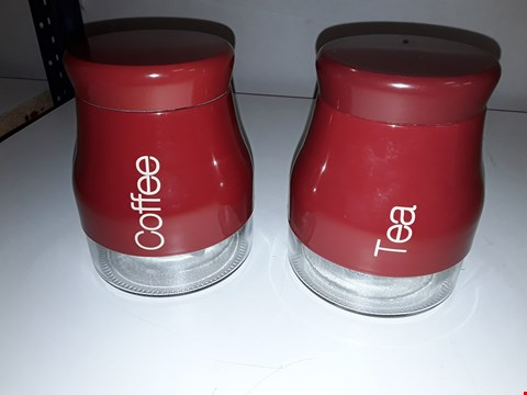 Lot 118 2 PEASE KITCHEN CANISTER IN RED  RRP £24.99
