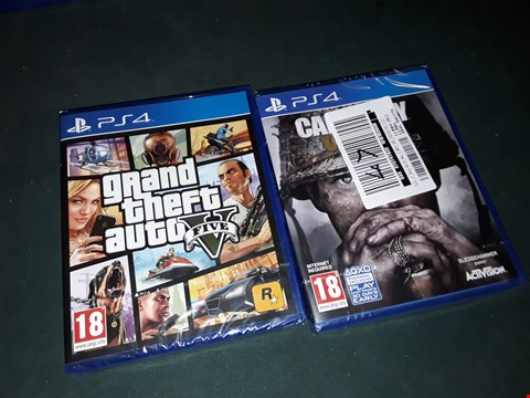 Lot 7184 BRAND NEW SONY PS4 GRAND THEFT AUTO 5 AND PS4 CALL OF DUTY WWII GAME  RRP £120