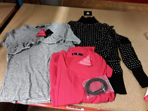 Lot 306 LOT OF APPROXIMATELY 10 ASSORTED DESIGNER CLOTHING ITEMS TO INCLUDE RED PENCIL DRESS AND DRILL FRONT T-SHIRT