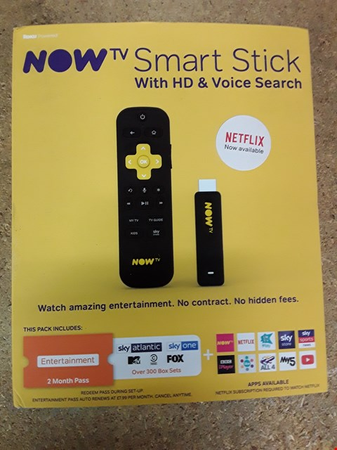 Lot 1765 NOW TV SMART STICK WITH HD & VOICE SESRCH RRP £24.99